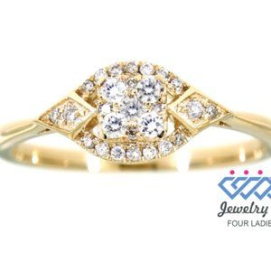 Solid Antique Cluster Diamond Ring 14K Yellow Gold